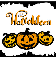 halloween background with pumpkin vector image