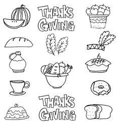 Hand draw thanksgiving stock on doodles vector image