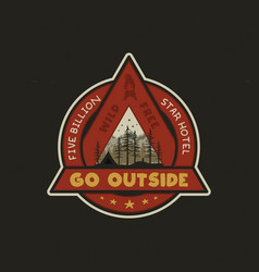 hand drawn adventure logo with camp tent vector image