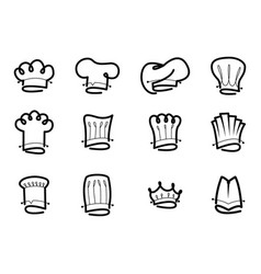 hand drawn isolated chef hat set vector image