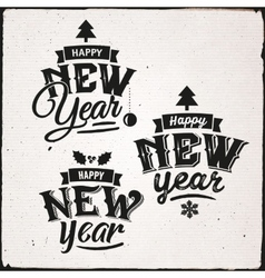 Happy New Year Set Of Typographic Design vector image