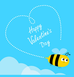 Happy valentines day flying bee icon dash line vector