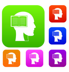 head with open book set color collection vector image