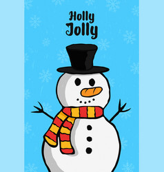 holly jolly christmas snowman cartoon card vector image