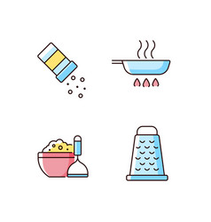 Home cooking rgb color icons set vector