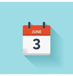 June 3 flat daily calendar icon Date and vector