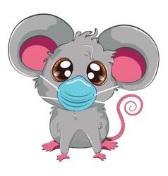 Kawaii grey mouse in face mask vector