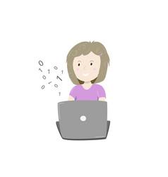 kids coding happy little girl learning coding vector image