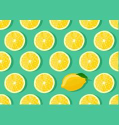 lemon fruits slice seamless pattern on green vector image