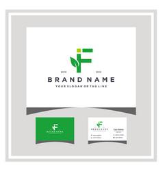 Letter if leaf logo design and business card vector