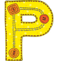 Letter p in patchwork style vector