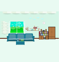 living room interior design relax with sofa and vector image