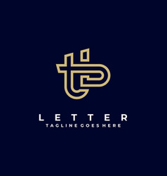 Logo abstract letter t and b line art style vector