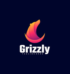 logo grizzly gradient colorful style vector image