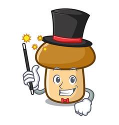 Magician porcini mushroom mascot cartoon vector