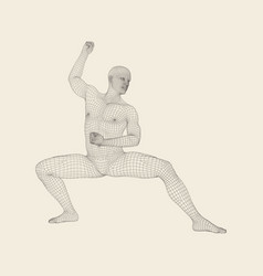 man doing yoga workout 3d model of man vector image