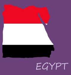 Map of egypt with an official flag on white vector