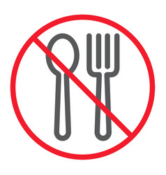 no eating line icon prohibition and forbidden vector image