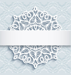 ornamental background with cutout paper doily vector image