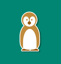 Paper sticker on stylish background penguin vector
