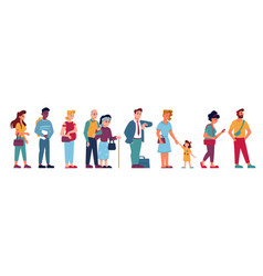 people queue crowd standing and waiting in line vector image