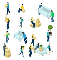 People Relocating Isometric vector