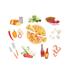 pizza ingredients and cooking utensils set vector image
