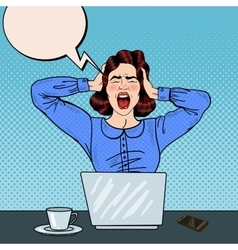 Pop Art Angry Frustrated Woman Screaming at Office vector image