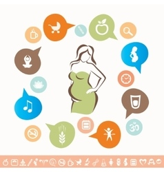 Pregnant woman infographics and icons set healthy vector