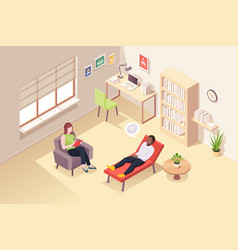 Psychologist counseling man at psychology session vector