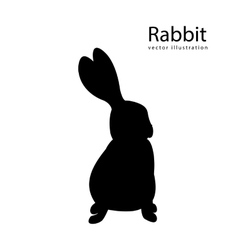 Rabbit black silhouette isolated vector image