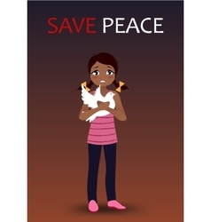 Sad crying girl holding a dove vector