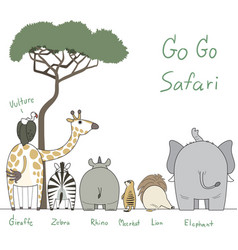 safari animals character vector image