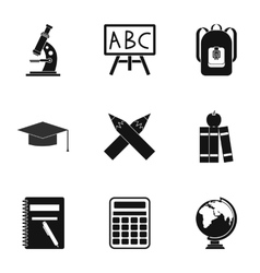 Schoolhouse icons set simple style vector