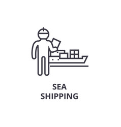 sea shipping thin line icon sign symbol vector image