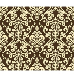 Seamless elegant damask pattern Golden colors vector image