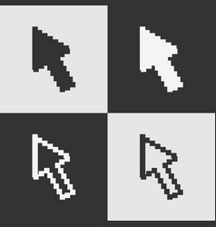set of black and white pixel arrow cursor icon iso vector image