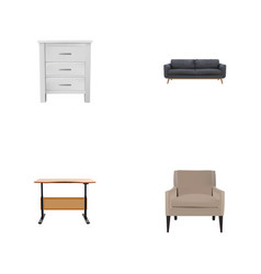 set of furniture realistic symbols with armchair vector image