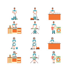 Set of housewife and house husband cleaning vector
