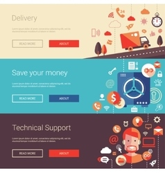Set of modern flat design business banners vector image