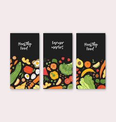 set of vertical banner templates with healthy food vector image