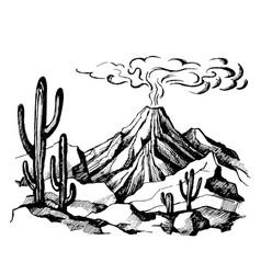 Sketch landscape volcanic eruption vector