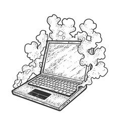 Smoking broken laptop sketch vector