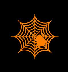 Spider on web orange icon on black vector