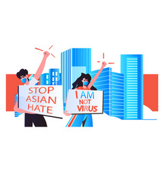 stop asian hate couple in masks holding banners vector image
