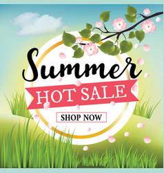 summer hot sale banner on nature background vector image