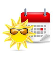 Sun and calendar vector