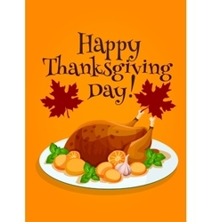 Thanksgiving Day roasted turkey greeting design vector image