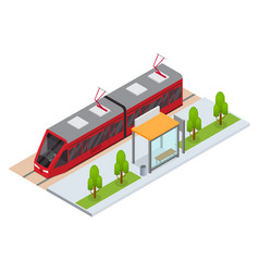 tram and stop station isometric view vector image