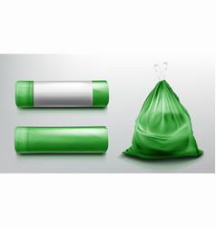 Trash bag mockup plastic roll sack with garbage vector